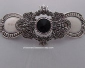 SteamPunk Victorian Vintage black and silver barrette hair clip