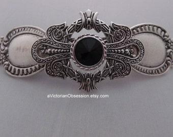 SteamPunk Victorian Vintage black and silver barrette hair clip