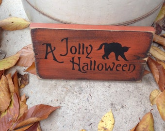 READY TO SHIP Jolly Halloween 2 Handpainted Primitive Wood Sign Wiccan Fall Decor Plaque Witchy