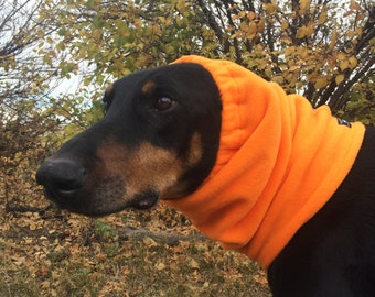 Bright Orange Polarfleece Snood for Large Dog - Hunting Season - Dobersnood - Dog Snood - Snood