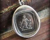 Mermaid Wax Seal Necklace - eloquence and enchantment - Mermaid Necklace in eco friendly fine - wax seal jewelry silver - E2320