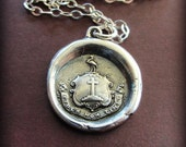 Faith Not Fear wax seal crest necklace - Let Your Faith Be Bigger Than Your Fear - L1160