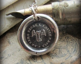 Friendship Wax Seal Necklace - Time Passes But Our Friendship Remains - Winged Hourglass Necklace - Friendship Necklace - FP425