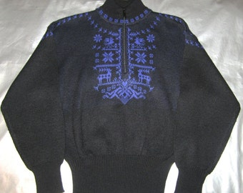 Vintage Ski Sweater - Women's Size MEDIUM - Black and Purple Reindeer and Snowflakes - 1980's - by Meister