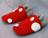 Little Mushroom Kids Slippers Leather Bottom fits 3-4 years old made from recycled materials
