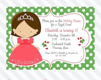 Christmas/Holiday Princess Birthday Invitation Printable Design 205 (DIY Printable)