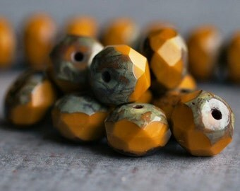 Mustard Czech Glass Picasso Bead Faceted 8x6mm Rondelle : 12 pc Mustard Rondelle