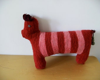 Red Felt Dachshund...The best friend a man can have