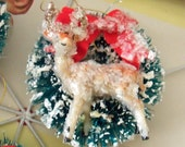 Vintage Style / Two Bottle Brush Christmas Wreath Ornaments / Made From Vintage Craft Supplies / Mica