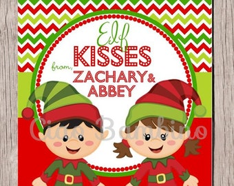Elf Kisses PRINTABLE Tags / Person alized with Name / Christmas Elves ...