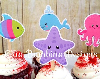 Under the Sea Birthday Party Cupcake Toppers / Girls Under the Sea Die Cut Cupcake Toppers / Set of 12 - 0022