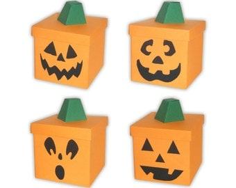 Carved Halloween Pumpkin Jack O'Lantern Digital PDF Favor Gift Box Printable Color Template (custom faces available)