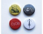 Bike Magnet Pack (Set of 4) 1.25 inch Bicycle Fridge Magnet Set