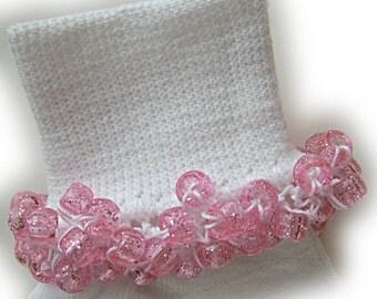 Kathy's Beaded Socks - Pink Sparkle Socks, school socks, pony bead socks, clear pony beads, pink pony beads, holiday socks
