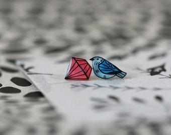 Blue Bird and Diamond - Earring Studs