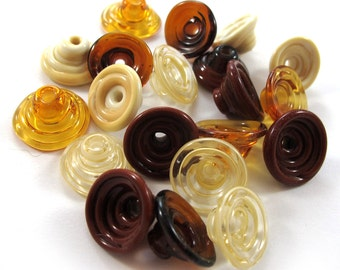 Handmade Lampwork Beads Glass - Lampwork beads set - Mix Caps - Cone Shape Bead Caps, browns  (20) SRA