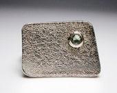 geometric trapezoid moldavite sterling size 8.5 modern minimalist urban chic industrial