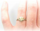 1930s Diamond Engagement Ring, Fiery Yellow European Cut Diamond, Dainty 18K Setting with Flower Blossom Details, Custom Sizing Included