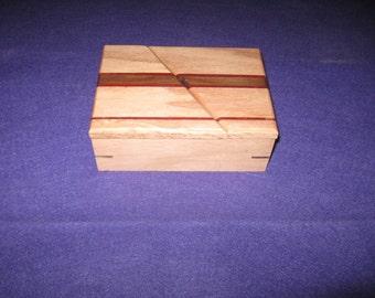 Small wood swivel-top keepsake or jewelry box