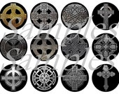 """1"""" Inch Celtic Cross Flatback Buttons, Pins or Magnets 12 Ct."""