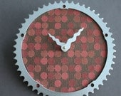 Bicycle Gear Clock - Modern Red Circles | Bike Clock | Wall Clock | Recycled Bike Parts Clock