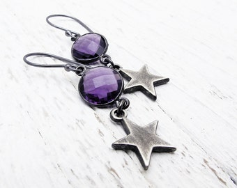 amethyst earrings, February birthstone earrings, purple hydroquartz earrings, star jewelry, sterling silver star earrings, celestial jewelry
