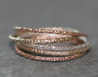 Ultra Thin Round Textured Midi Ring
