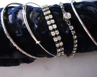 Vintage Rhinestone Bracelets, Bangles, Stack, Collection, Silver