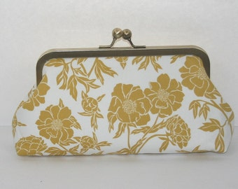 Personalized Bridesmaids Gifts/Gold Floral Clutch Purse/Bridesmaid Clutch