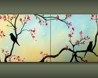 Custom Multi Panel Bird on a Branch in Spring Painting.... Large Modern Art Multi Canvas Painting in Blue and Yellow