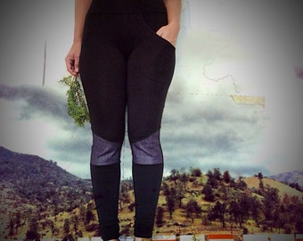 Bamboo Leggings -- black and DENIM, eco friendly knee patch leggings. Front and back built-in pockets.  Durable for yoga and everyday life.