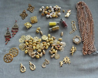 Huge Bead lot, destash lot, vintage and new, chain beads, watch, vintage jewelry, angels, gold