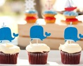 Whale Cupcake Toppers Set of 12 - Nautical Baby shower - Under the Sea Party - Whale of a Tale Birthday Party
