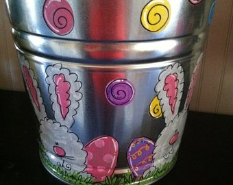 Personalized easter bucket or easter basket bunnies and easter eggs