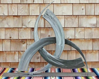 Odins Horns stainless steel found object sculpture. Pagan Wiccan religious symbol