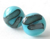 Abstract Blues Fused Glass Post Earrings - Sky Blue Dots with Purple Stained Bacilli rods - Reactive Glass