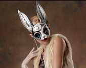 RESERVED for babidreads1.... March-of-Time Hare.. made to order leather clockwork rabbit mask