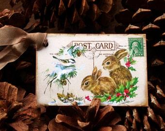 Holiday Garden Gift Tags, Christmas Nature Gift Tags, Christmas Woodland Gift Tags