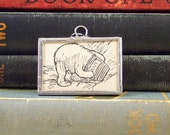Winne the Pooh Head Stuck in Honey Pot Pendant - Oh Bother! - Soldered Glass Charm -  Book Charm - Literary Pendant - Winnie the Pooh Charm