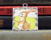 Tortoise and Hare Pendant - Aesop Fable Pendant - Soldered Glass Pendant - Tortoise Pendant - Rabbit Pendant - Fairy Tale Book Charm