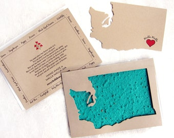Washington State - Plantable Greeting Card - Thank You Card Set with Flower Seeds - Made in Washington Walla Walla