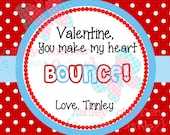 Valentine's Day Tag. Bounce. Ball Favor. Make my heart bounce.  Class Valentines. Printable Tag. PDF File.Personalized.Square Tag. Red