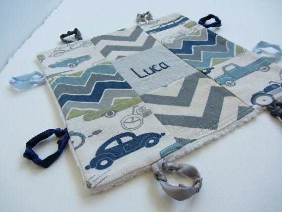 Baby Boy Lovey with Custom Hand Embroidered Name or Initial ~ Choice of Backing Fabric ~ Vintage Cars Chevron ~ Blue Teal Beige Grey ~Modern