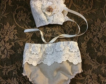 Vintage Inspired Newborn Lace Bonnet and Diaper Cover Photo Prop Newborn Photography Prop