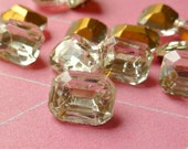 Vintage Glass Jewels - 10x8mm Crystal Clear Octagons (19-15F-12)
