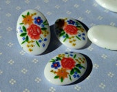 Six Vintage Japanese 14x10mm Glass Cabochons with Colorful Flower Detail (8-28-6)