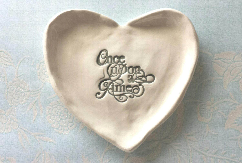 Heart shaped wedding ring dish trinket dish jewelry once upon for Heart shaped jewelry dish