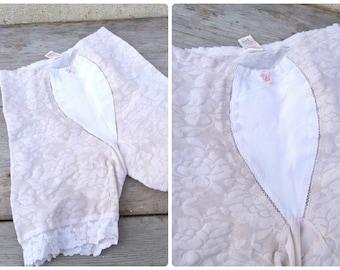 Vintage 1960 French burlesque white panty lingerie size S