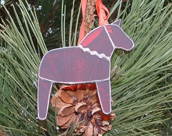 Red Dala Horse Ornament, Swedish Christmas Ornament, Tiffany Style Stained Glass Horse, Swedish Custom, Free US shipping