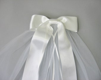 "First Communion Veil, 2"" Silk Ribbon"